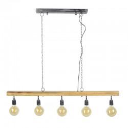 Suspension cinq ampoules suspendues à une barre en bois de manguier de style industriel moderne
