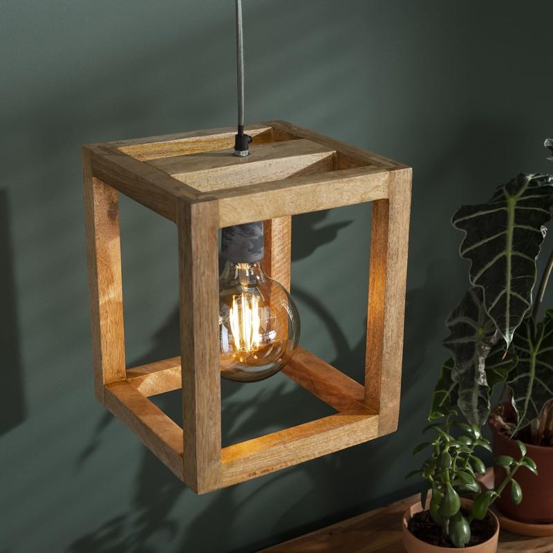 Suspension cubique en bois de manguier de style nature