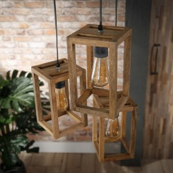 Suspension cubique en bois de manguier de style nature 3 ampoules