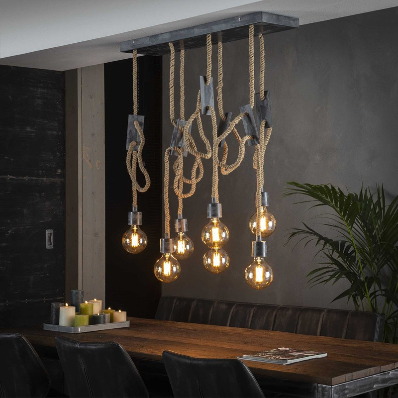 Suspension en corde de jute de style de industriel moderne 7 ampoules