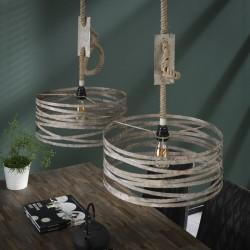 Suspension cylindrique en lanières de métal style industriel 2 ampoules