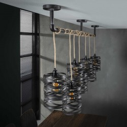 Suspension sept abat-jours cylindriques en métal torsadé et corde de style industriel et rétro
