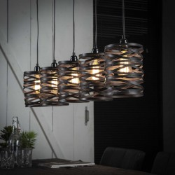 Suspension cylindrique en métal torsadé de style industriel 5 lampes