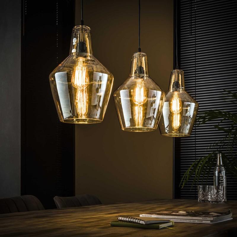 Suspension trapèze en verre ambré de style industriel 3 ampoules