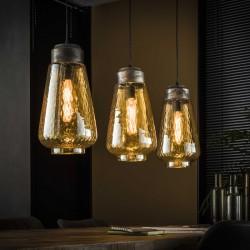 Suspension trois abat-jours goutte en verre ambré de style moderne et vintage