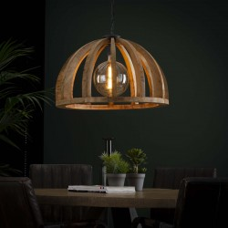 Suspension demi-cercle en bois de manguier de style contemporain