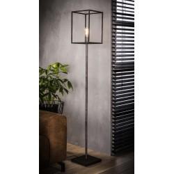 Lampadaire d'intérieur une ampoule à l'intérieur d'une structure cubique en métal de style industriel minimaliste