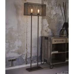 Lampadaire rectangulaire en métal de style industriel 2 ampoules
