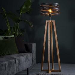 Lampadaire en métal torsadé monté sur pieds croisés style industriel