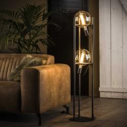 Lampadaire 2 ampoules fixées dans structure métallique style industriel