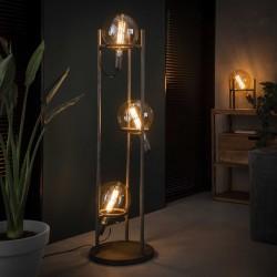 Lampadaire 3 ampoules dans une structure en métal de style industriel