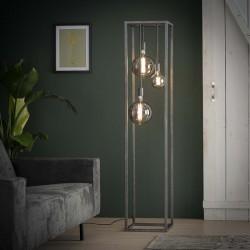 Lampadaire d'intérieur trois ampoules insérées dans une structure rectangulaire fine de style industriel et rétro
