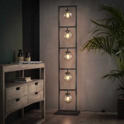 Lampadaire 5 ampoules suspendues structure en fer rectangulaire de style contemporain et vintage