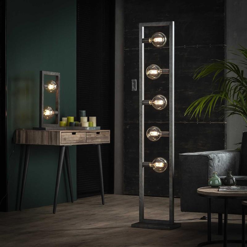 Lampadaire 5 ampoules structure métallique rectangulaire style industriel