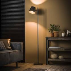 Lampadaire d'intérieur un abat-jour spot en métal monté sur une barre ronde de style industriel