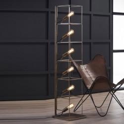 Lampadaire 6 ampoules structure en tige de métal style industriel