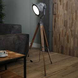 Lampadaire spot en métal équipé de verre réfléchissant style industriel