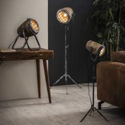 Lampadaire bois de manguier grille de fer pied en métal style industriel