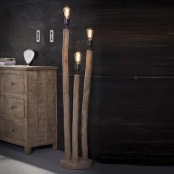 Lampadaire rondins verticaux en bois de style nature