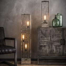 Lampadaire rectangulaire grille fermée en métal de style...
