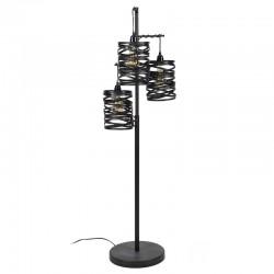 Lampadaire d'intérieur trois abat-jours cylindriques suspendus en torsades de métal de style industriel et rétro