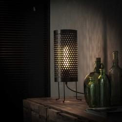 Lampe de table perforée sur pieds fins et recourbés  style industriel