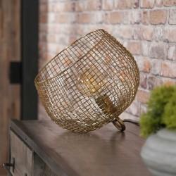Lampe de table abat-jour or en fil de fer ajouré de style contemporain