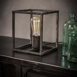 Lampe de table structure en métal cubique argent ancien de style industriel