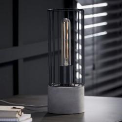 Lampe de table cylindrique en tiges de métal pied rond en béton de style industriel