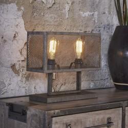 Lampe de table un abat-jour rectangulaire en métal recouvert d'une grille ouverte de style industriel