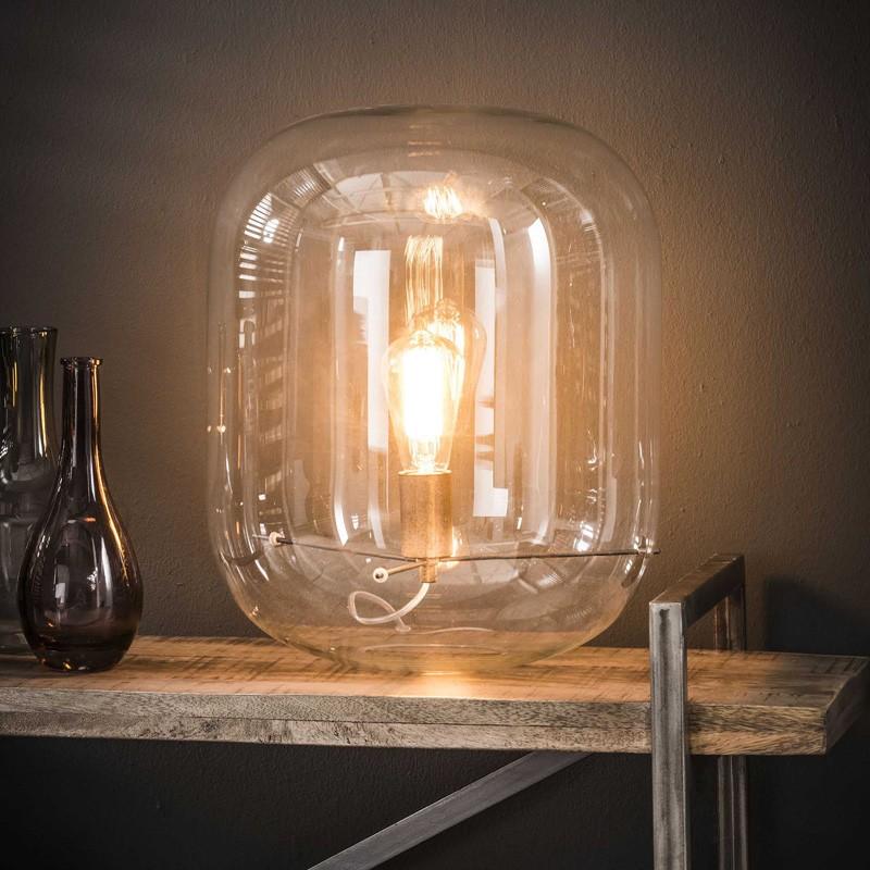 Lampe de table une ampoule à l'intérieur d'une cloche en verre de style industriel et moderne