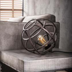 Lampe de table un abat-jour cuivre antique ouvert en métal rond légèrement ovale de style industriel