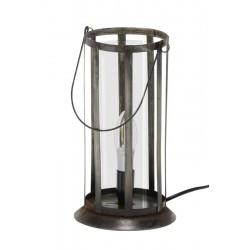 Lampe de table lanterne ronde composé de plaques de verre et métal avec poignée style industriel