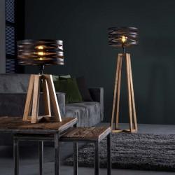 Lampe de table un abat-jour cylindrique en torsades de métal monté sur quatre pieds croisés en bois de style industriel rétro