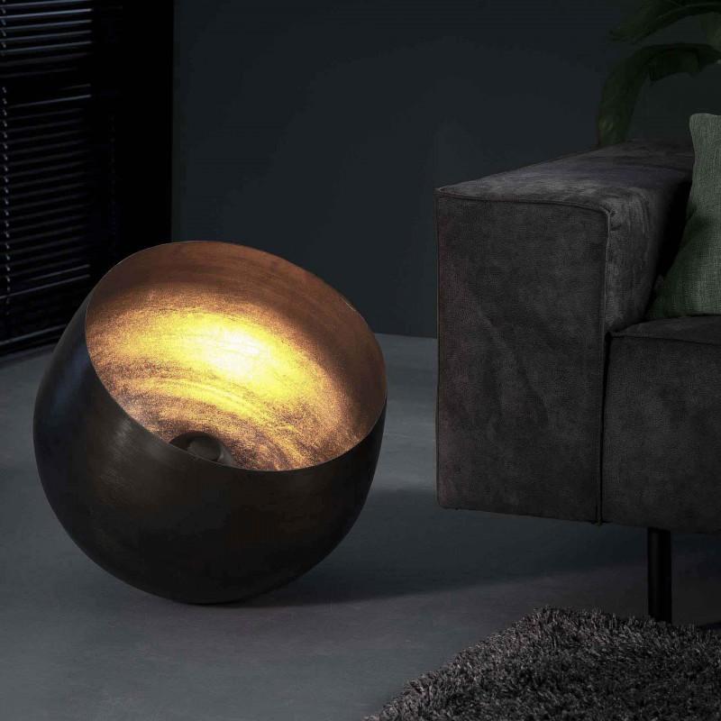 Lampe de table un abat-jour semi-rond ouvert en métal sans pied finitions en nickel de style moderne