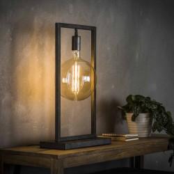 Lampe de table une ampoule suspendue dans une structure métallique rectangulaire fine de style industriel