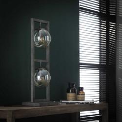 Lampe de table deux ampoules suspendues dans une structure rectangulaire en métal de style rétro