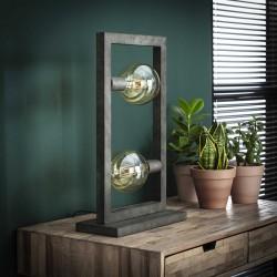 Lampe de table 2 ampoules dans structure en métal style industriel