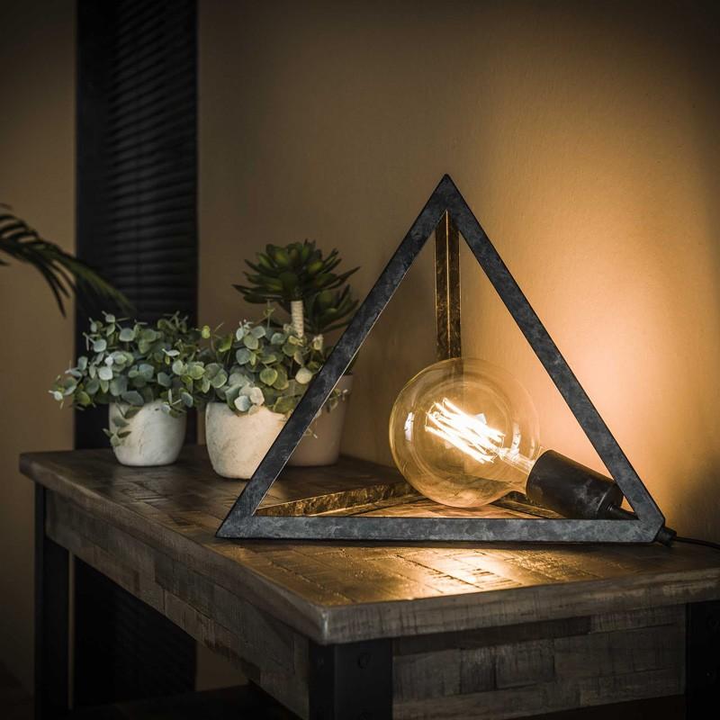 Lampe de table 1 ampoule ossature en métal triangulaire de style industriel