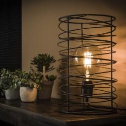 Lampe de table une ampoule dans une structure cylindrique en métal torsadé ouvert de style industriel