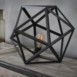 Lampe de table un abat-jour hexagonal en métal formé de triangles ouverts de style industriel