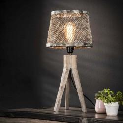 Lampe de table effet grille ouverte sur un trépied en bois style industriel