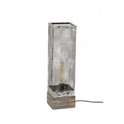 Lampe de table un abat-jour en cuivre rectangulaire recouvert d'une grille fermée de style industriel rétro