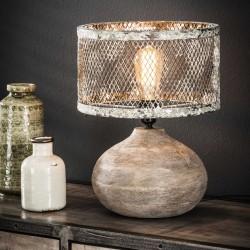 Lampe de table un abat-jour en cuivre cylindrique recouvert d'une grille fermée de style industriel rétro
