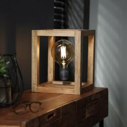 Lampe de table structure cubique en bois de manguier style moderne