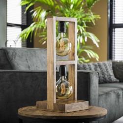 Lampe de table deux ampoules dans une structure rectangulaire en bois d'acacia de style moderne