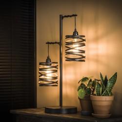 Lampe de table 2 cylindres suspendus en torsades de métal style industriel