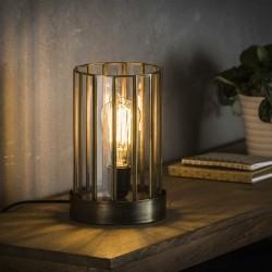 Lampe de table cylindrique plaques de verre structure en métal de style moderne