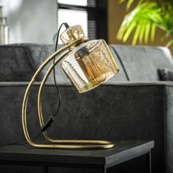 Lampe de table en verre ambré sur un pied arrondi en métal de style vintage