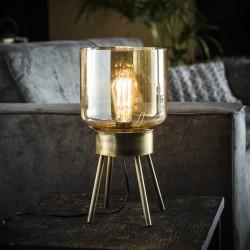 Lampe de table en verre ambré sur un socle en métal de style vintage